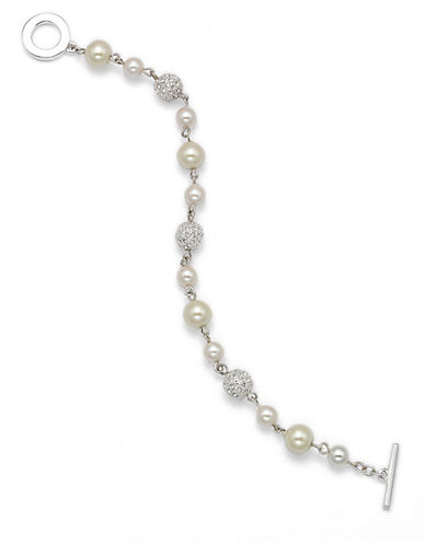CAROLEE Silvertone Pave Fireball and Faux Pearl Bracelet