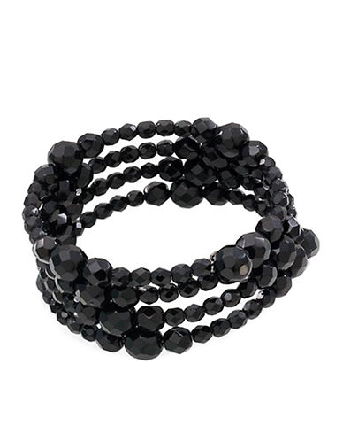 CAROLEE Jet Black Crystal 3-Row Bracelet