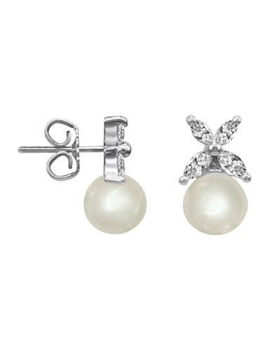 MAJORICACrystal and Pearl Stud Earrings