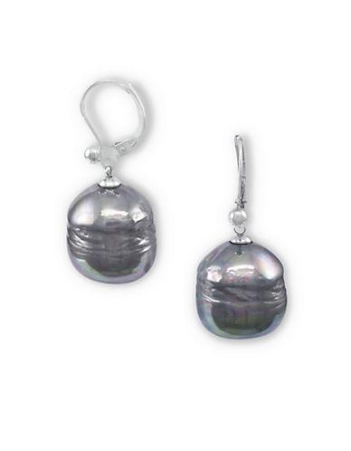 MAJORICASterling Silver Organic Man-Made Grey Pearl Drop Earrings