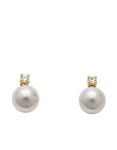 MAJORICA 14 Kt. Gold Cubic Zirconia and Organic Man-Made Pearl Stud Earrings