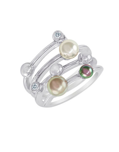 MAJORICASterling Silver Ring with Man-Made Organic Pearl Accents