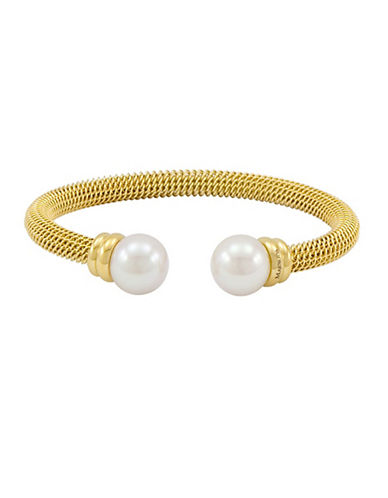 MAJORICA Gold-Tone Stainless Steel Bangle with Man-Made Organic Pearl Accents
