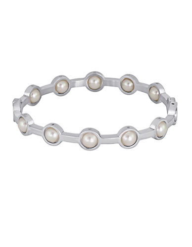 MAJORICA Silver Tone and Pearl Bangle Bracelet
