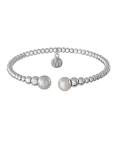 MAJORICA Silver Tone Bead and Pearl Cuff Bracelet