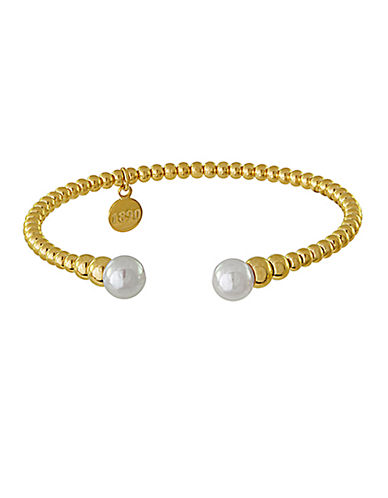 MAJORICA Gold Tone and Pearl Bangle Bracelet