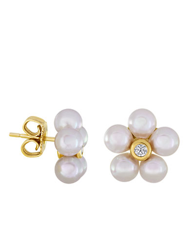 MAJORICA18Kt Gold and Pearl Floral Stud Earrings