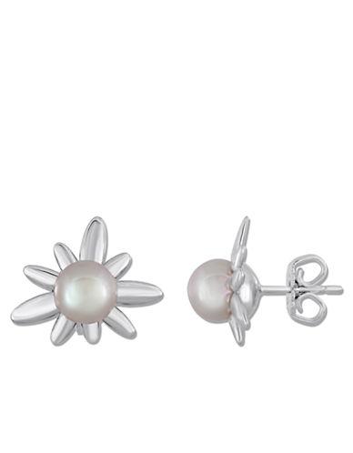 MAJORICA8MM Grey Pearl and Sterling Silver Flower Earrings