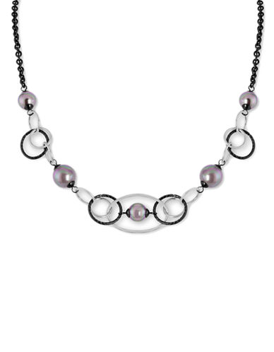 MAJORICA 8MM and 10MM Grey Pearl Necklace - Silvertone