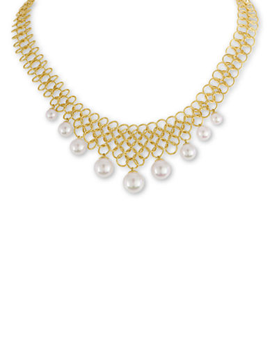 MAJORICAStatus Links 6MM-10MM Freshwater Pearl and 18K Gold Bib Necklace