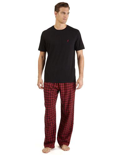 NAUTICAT Shirt and Plaid Pant Pajama Set