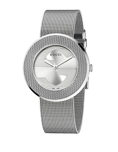 gucci female uplay round stainless steel mesh bracelet watch