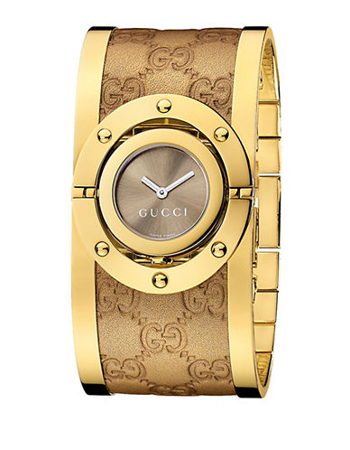 GUCCILadies Twirl Collection Watch with Yellow Gold Bangle