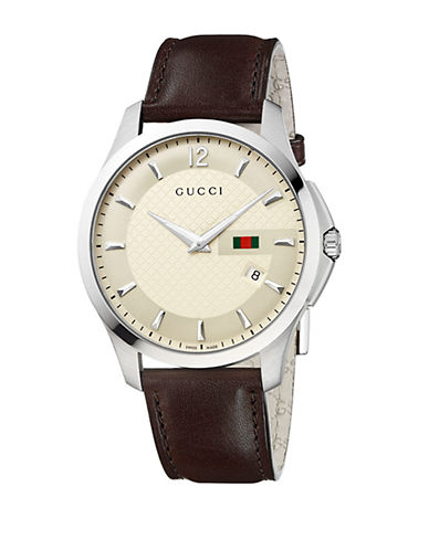 GUCCI Mens Brown Strap Ivory Dial Watch
