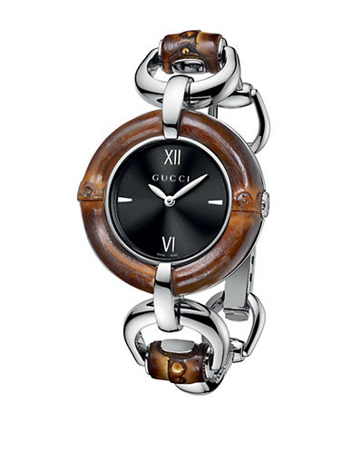 GUCCILadies Bamboo Black Dial Watch