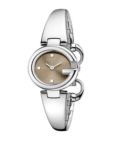 gucci female guccissima stainless steel bangle bracelet watchbrown