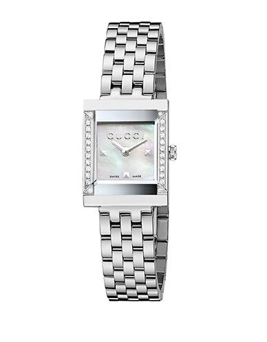 gucci female gframe diamond motherofpearl stainless steel watch