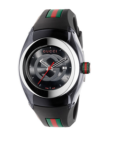 GUCCIUnisex Black Sync Stainless Steel and Rubber Watch - 36mm