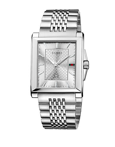 GUCCI Mens Stainless Steel Square Watch with Bracelet