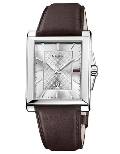 GUCCIMens Stainless Steel Square Watch with Leather Strap