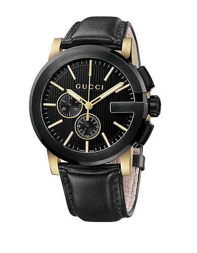 GUCCI Mens G Chronograph Gold Tone and Black Leather Watch