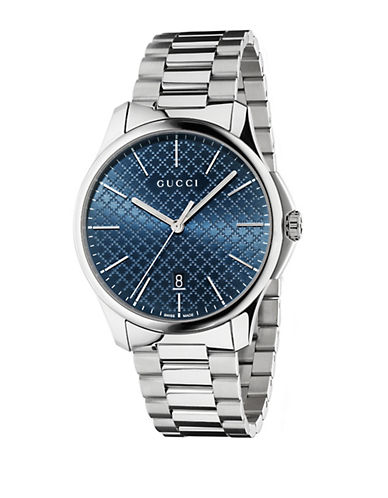 GUCCI Mens Stainless Steel Watch with Diamante Dial