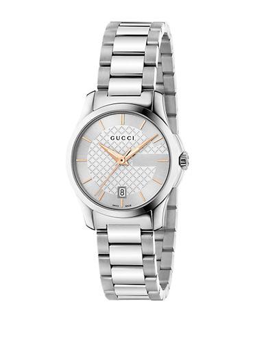 gucci female gtimeless stainless steel bracelet watchsilvertone