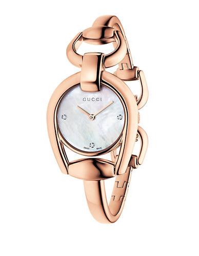 gucci female ya139508 horsebit rose goldtone bangle watch