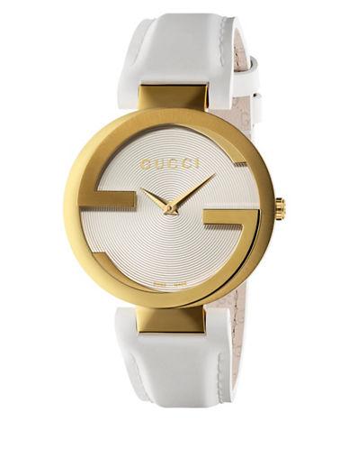 gucci female interlocking yellow gold leather strap watch