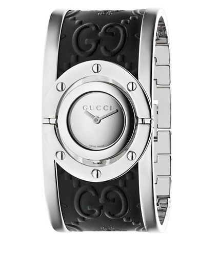 gucci male twirl stainless steel guccissima and bee leather bangle analog watch 112 j