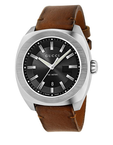 gucci male stainless steel leather strap bracelet watch