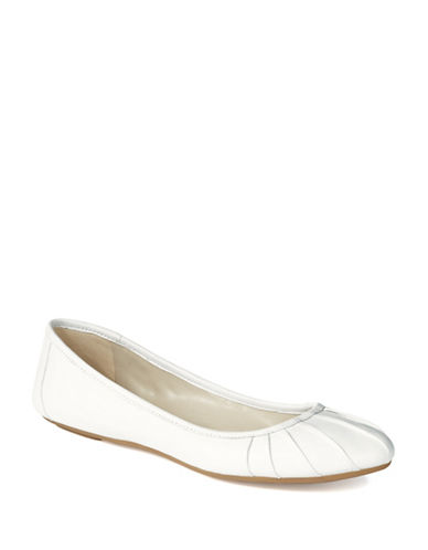 NINE WEST Blustery Pleated Leather Ballet Flats