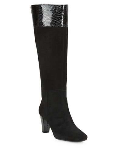 Buy Viet Wide Calf Suede and Leather Knee-High Boots by Bandolino online