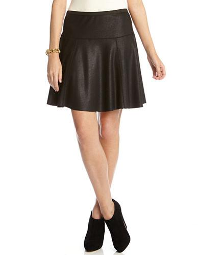 KAREN KANEFaux Leather Skate Skirt