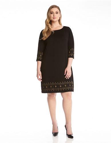Shop Karen Kane Plus online and buy Karen Kane Plus Plus Stud Trimmed Shift Dress dress online