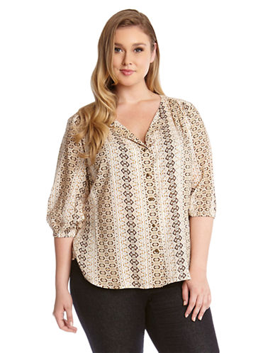 Karen Kane Plus Plus Geo Print Split Placket Top