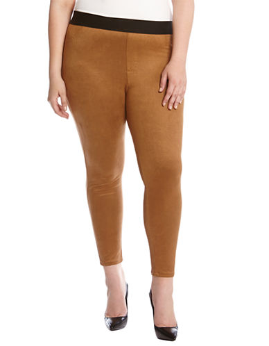 Karen Kane Plus Plus Faux Suede Leggings