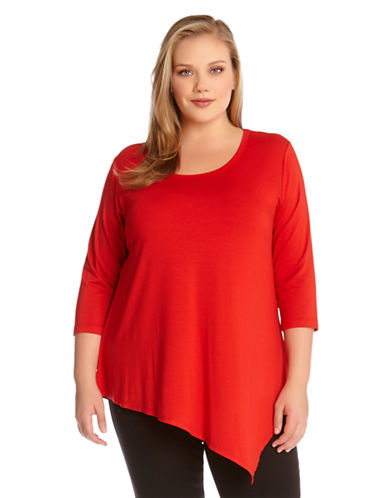 Karen Kane Plus Plus Asymmetrical Hem T-Shirt