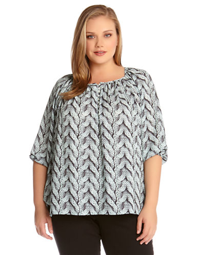 Karen Kane Plus Plus Cable Print Shirred Top