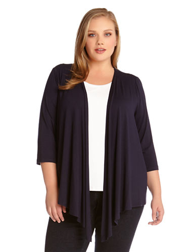 Karen Kane Plus Plus Draped Open Front Cardigan