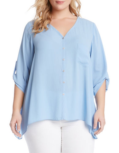 Plus Plus Roll-Tab Handkerchief Top plus size,  plus size fashion plus size appare