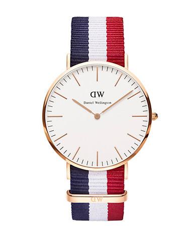 daniel wellington male classic cambridge rose gold and nato strap watch 40mm