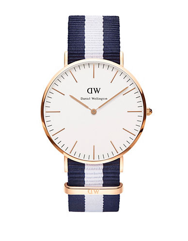 daniel wellington male classic glasgow rose gold and nato strap watch 40mm