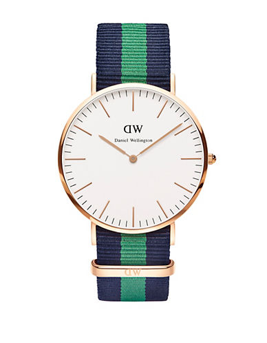 daniel wellington male classic warwick rose gold and nato strap watch 40mm