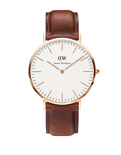 daniel wellington male classic st mawes rose gold and leather strap watch 40mm