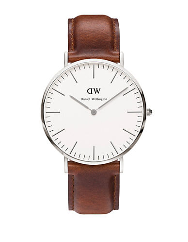 daniel wellington male classic st mawes stainless steel and leather strap watch 40mm