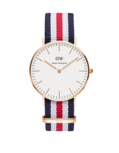 daniel wellington female classic canterbury rose gold and nato strap watch 36mm