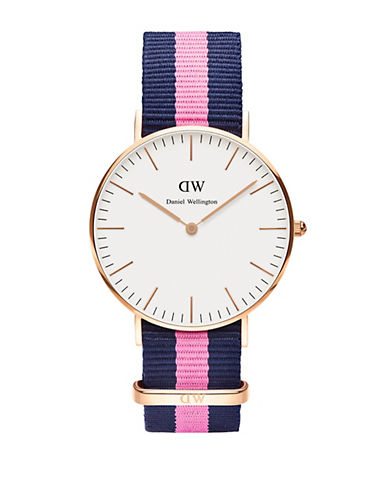 daniel wellington female classic winchester rose gold and nato strap watch 36mm
