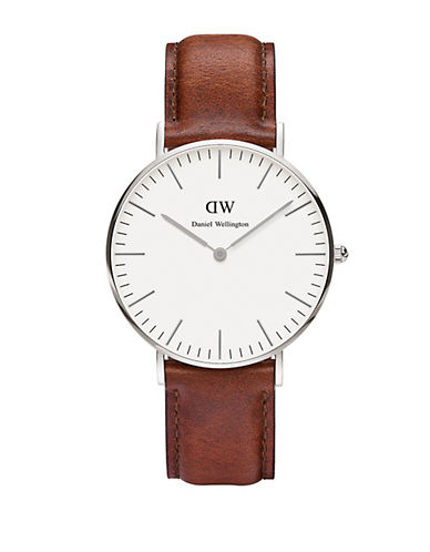 daniel wellington female classic st mawes stainless steel and leather strap watch 36mm
