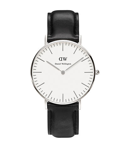 daniel wellington female classic sheffield stainless steel and leather strap watch 36mm